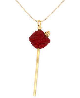 18k-gold-over-sterling-silver-necklace,-medium-red-crystal-lollipop-pendant by sis-by-simone-i-smith