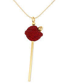SIS by Simone I Smith 18k Gold over Sterling Silver Necklace, Medium Red Crystal Lollipop Pendant