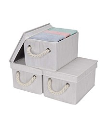 Foldable Fabric Storage Bin with Cotton Rope Handles and Lid 2-Pack