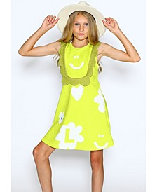 Little Girls A-Line Dress with Scallop Front Detail