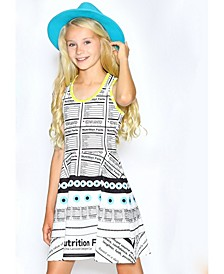 Little Girls Fit and Flare Printed Dress