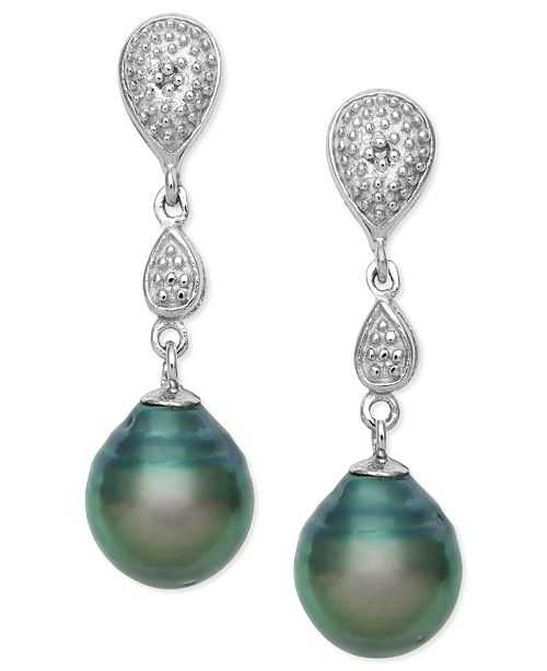 Macy's Cultured Tahitian Black Pearl (8mm) and Diamond Accent Drop Earrings in Sterling Silver