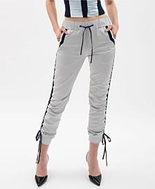 VHNY Silver Drawstring Track Pants