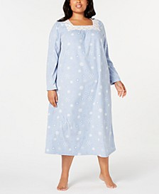 Plus Size Lace-Trim Fleece Nightgown, Created for Macy's