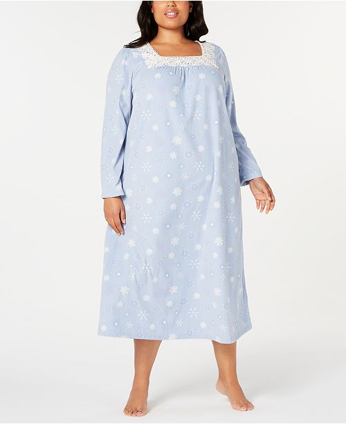 Charter Club Plus Size Lace-Trim Fleece Nightgown, Created for Macy's