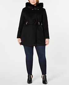 Calvin Klein Plus Size Hooded Faux-Fur-Trim Coat