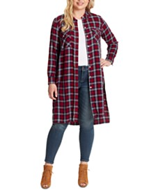 Jessica Simpson Lori Plaid Plus Size Duster Shirt