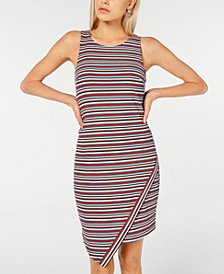 Juniors' Striped Asymmetrical Tank Dress