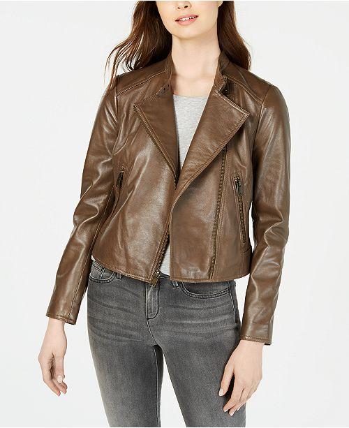 Marc New York Cropped Leather Moto Jacket