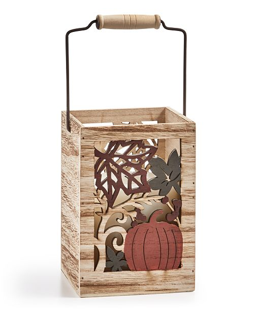 Home Essentials CLOSEOUT! Harvest Tall Wood Candle Holder
