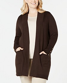 Plus Size Button-Sleeve Flyaway Cardigan Sweater, Created for Macy's