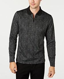 Men's Jacquard Zip-Collar Long Sleeve Polo Shirt, Created for Macy's