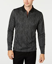 Alfani Men's Jacquard Zip-Collar Long Sleeve Polo Shirt, Created for Macy's