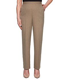 Boardroom Textured Straight-Leg Pull-On Pants