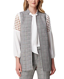 Tahari ASL Long Glen Plaid Vest