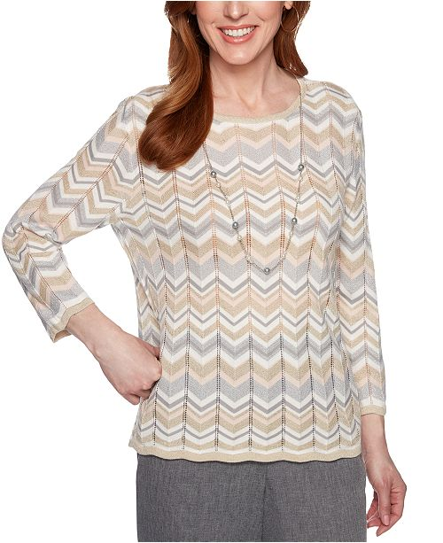 Alfred Dunner Boardroom Chevron Pointelle-Knit Sweater