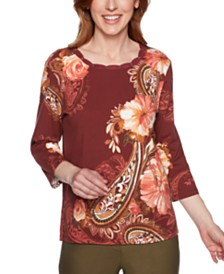 Alfred Dunner Cedar Canyon Printed Scallop-Neck Top