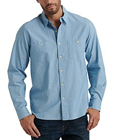 Men's Regular-Fit Stretch Chambray Work Shirt