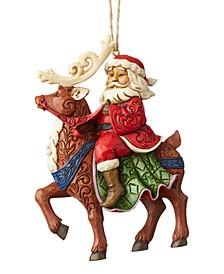 Jim Shore Santa Riding Reindeer Ornament