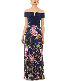 XSCAPE Off-The-Shoulder Floral-Skirt Gown