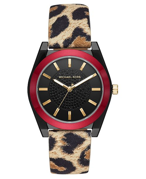 Michael Kors Women's Channing Animal Print Leather Strap Watch 40mm