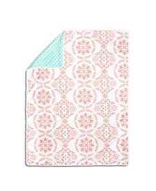 The Peanutshell Mint & Coral Medallion Pompom Blanket