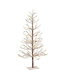 4-Foot, Electric,Brown Wrapped, Snowy Tree with LED Lighting, 8 functions