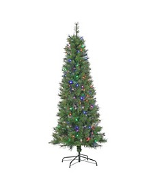 6.5Ft. Multi-Style Pre-Lit Mixed Needle Fiber Optic Tree with 200 Multi-Colored LED Lights