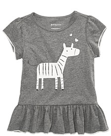 Toddler Girls Zebra-Print Flounce-Hem Top, Created for Macy's