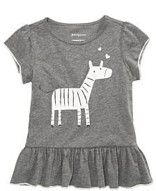 First Impressions Baby Girls Zebra-Print Flounce-Hem Top, Created for Macy's