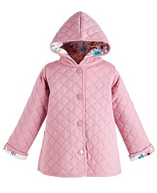 First Impressions Toddler Girls Hooded Reversible Quilted Cotton Jacket, Created for Macy's