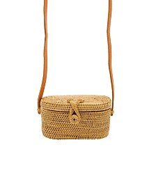 La Regale Weekend Mini Rattan Basket Crossbody