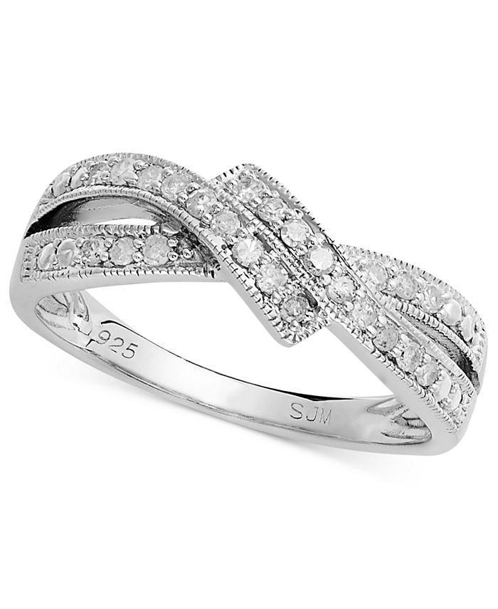 Macy's - Diamond Crossover Ring in Sterling Silver (1/4 ct. t.w.)