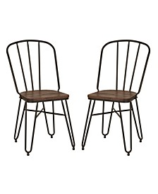 Industrial Steel Dining Chair with Elm Wood Seat Set of 2