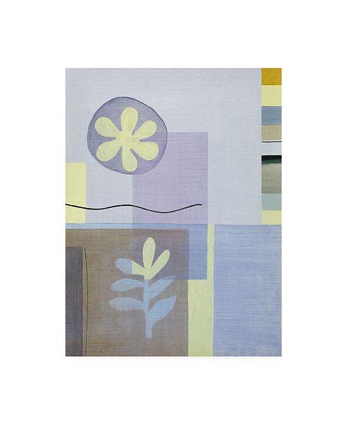 "Trademark Global Pablo Esteban Leaf and Flower in Blue Canvas Art - 36.5"" x 48"""