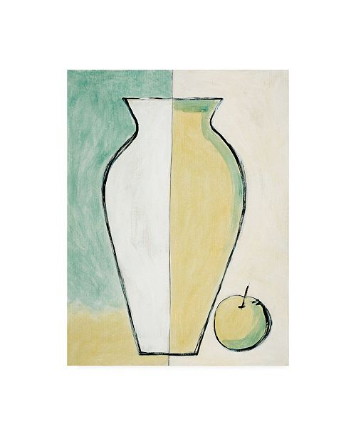 "Trademark Global Pablo Esteban White and Yellow Vase with Apple Canvas Art - 27"" x 33.5"""