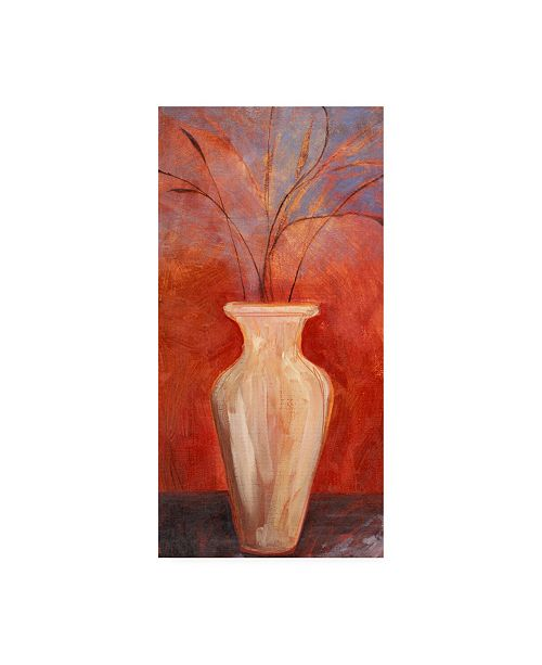 """Trademark Global Pablo Esteban White Vase with Twigs on Red Canvas Art - 15.5"""" x 21"""""""