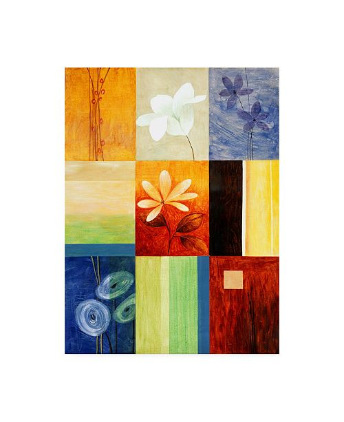 "Trademark Global Pablo Esteban Square Floral Collage Canvas Art - 36.5"" x 48"""