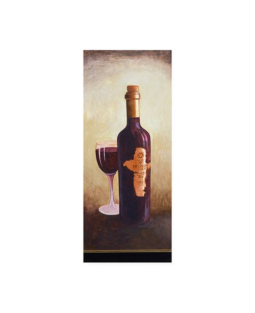 "Trademark Global Pablo Esteban A Bottle of Red Wine with Glass Canvas Art - 27"" x 33.5"""