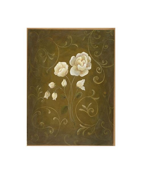 "Trademark Global Pablo Esteban White Roses with Scrolls Canvas Art - 27"" x 33.5"""