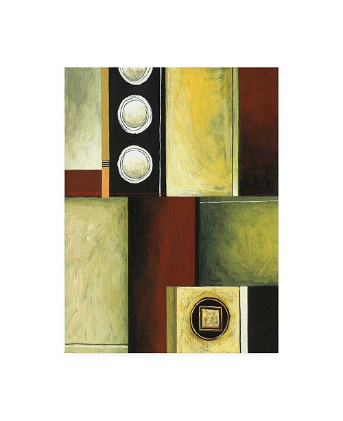 "Trademark Global Pablo Esteban Red Yellow and Green Squares Canvas Art - 36.5"" x 48"""