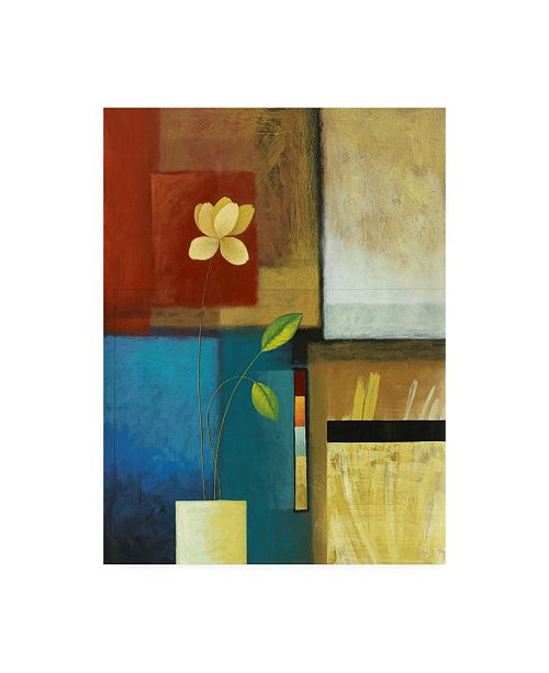"Trademark Global Pablo Esteban Flower and Red and Blue Squares Canvas Art - 27"" x 33.5"""