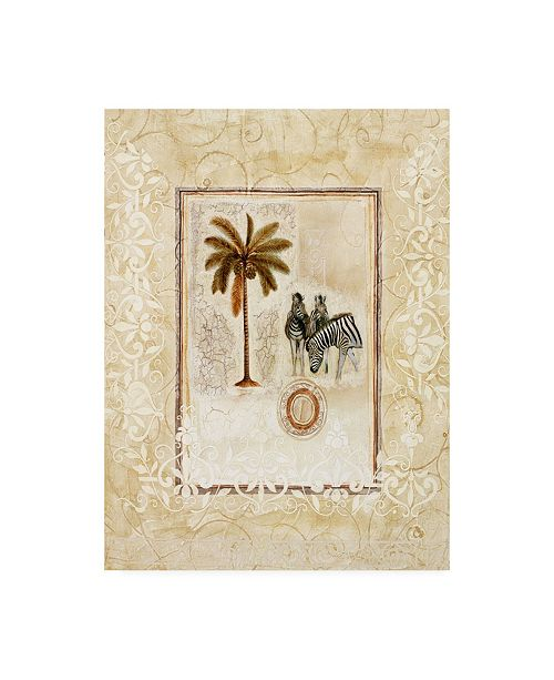 "Trademark Global Pablo Esteban Palm Tree and Two Zebras Canvas Art - 27"" x 33.5"""