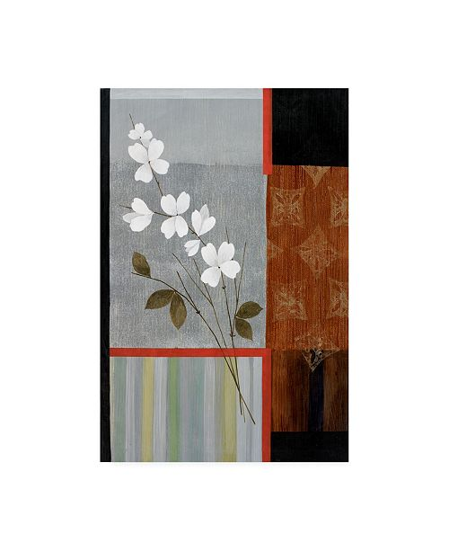"Trademark Global Pablo Esteban Flowers Stripes and Squares Canvas Art - 36.5"" x 48"""