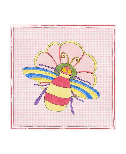 "Trademark Global Nancy Slocum Silhouette on Pink Gingham I Childrens Art Canvas Art - 15.5"" x 21"""