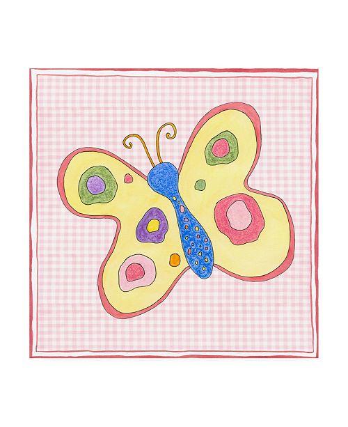 "Trademark Global Nancy Slocum Silhouette on Pink Gingham II Childrens Art Canvas Art - 19.5"" x 26"""