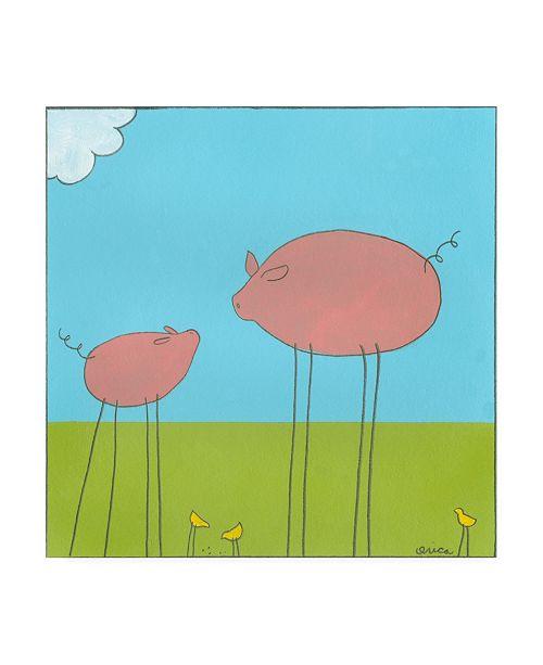"""Trademark Global June Erica Vess Stick leg Pig II Childrens Art Canvas Art - 15.5"""" x 21"""""""