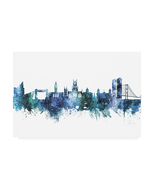"Trademark Global Michael Tompsett Kingston upon Hull England Skyline Blue Canvas Art - 19.5"" x 26"""