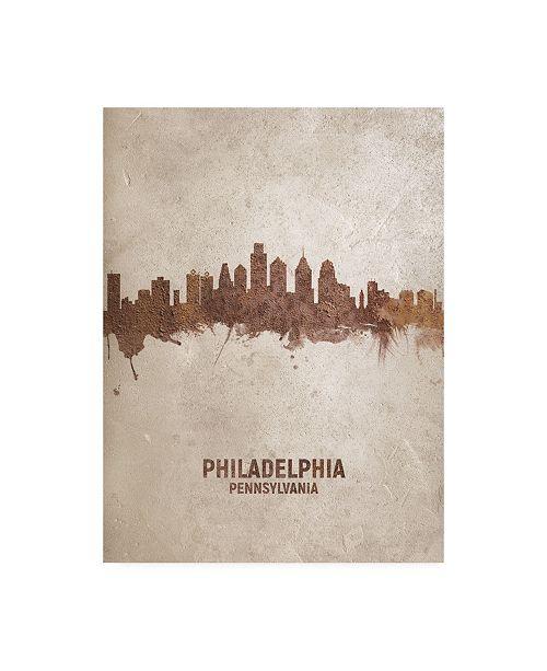 "Trademark Global Michael Tompsett Philadelphia Pennsylvania Rust Skyline Canvas Art - 19.5"" x 26"""