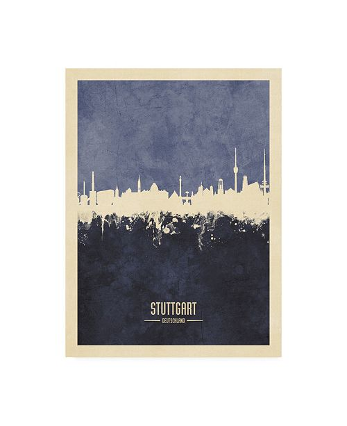 "Trademark Global Michael Tompsett Stuttgart Germany Skyline Navy Canvas Art - 36.5"" x 48"""